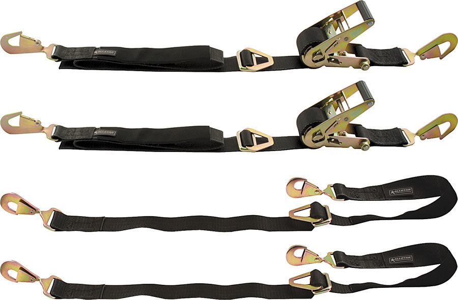 Allstar Performance 10209 Ratchet Tie Down, 2 in Wide, 2 Tie Downs / Axle Straps, Twisted Snap Hooks, Nylon Webbing, Black, Kit