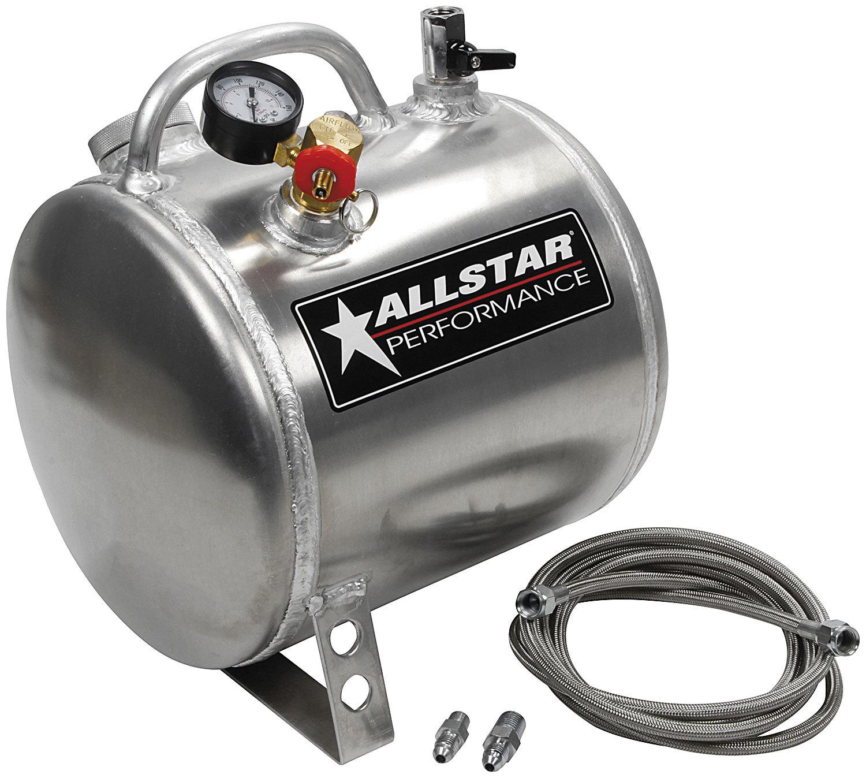Allstar 10535 Oil Pump Primer, Portable, 9 in Diameter x 11 in Long, 4 AN Hose, 1/8 in NPT Male Fitting, Aluminum, Polished, Kit
