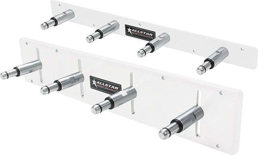 Allstar 12211 Shock Rack, Wall Mount, 18 in Long, 4 Shock Capacity, Aluminum, White Powder Coat, Each