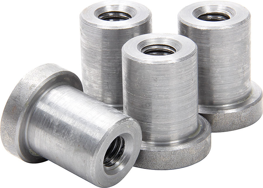 Allstar Performance 18550 Weld-On Nut, 3/8-16 in Thread, 3/4 in OD Mounting Hole, Steel, Natural, Set of 4