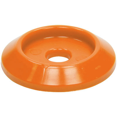 Allstar Performance 18849 Body Bolt Washer, Countersunk, 1/4 in ID, 1-1/4 in OD, Plastic, Orange, Set of 10