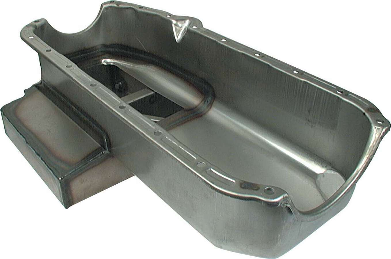 Allstar Performance 26132 Engine Oil Pan, Claimer Pan, Rear Sump, 6 qt, 7 in Deep, Kick Out, Steel, Natural, Small Block Chevy, Each