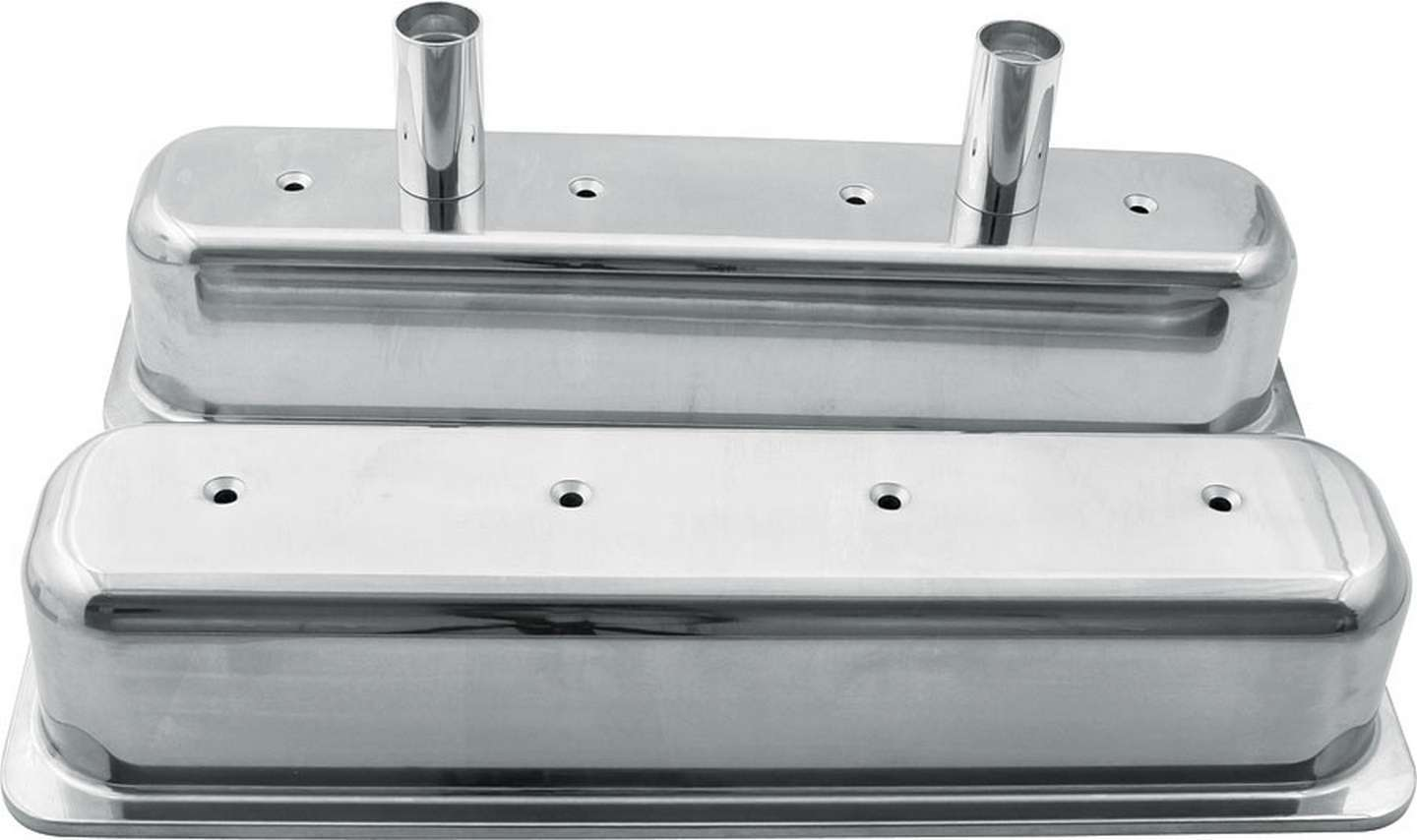 Allstar Performance 26137 Valve Cover, Tall, Breather Tubes, Aluminum, Polished, Center Bolt, Small Block Chevy, Pair