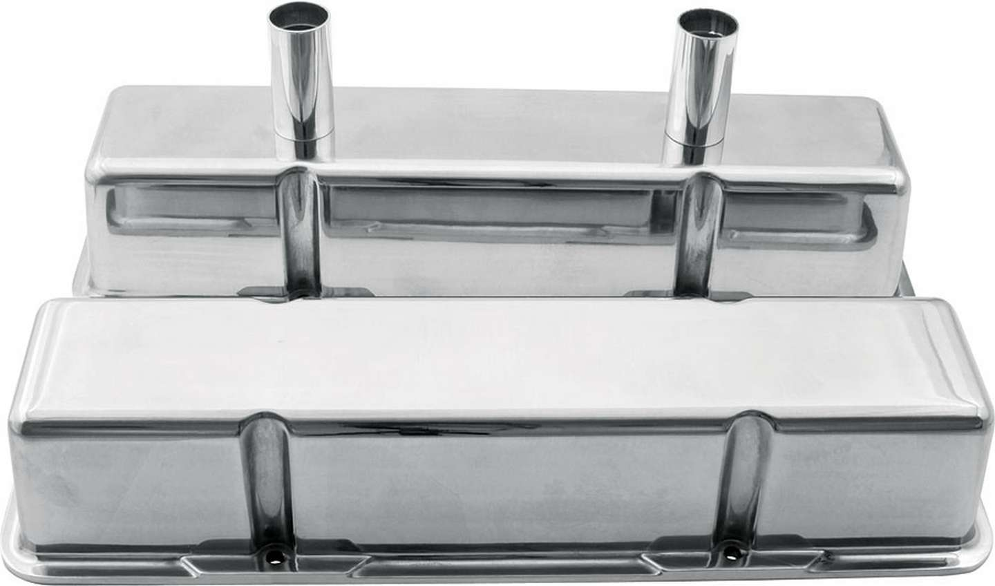 Allstar Performance 26139 Valve Cover, Tall, Breather Tubes, Aluminum, Polished, Small Block Chevy, Pair