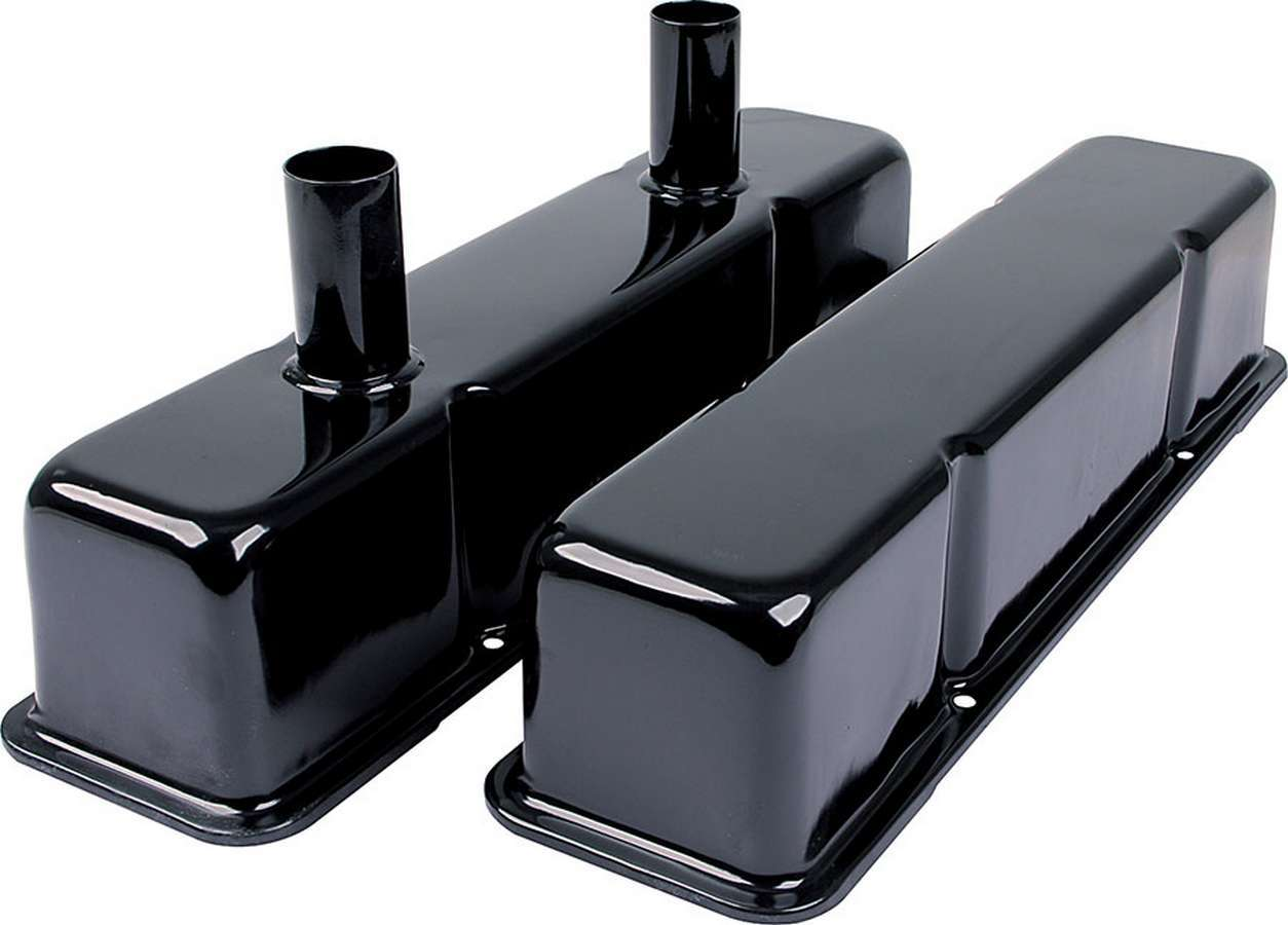Allstar Performance 26147 Valve Cover, Tall, Breather Tubes, Steel, Black Paint, Small Block Chevy, Pair