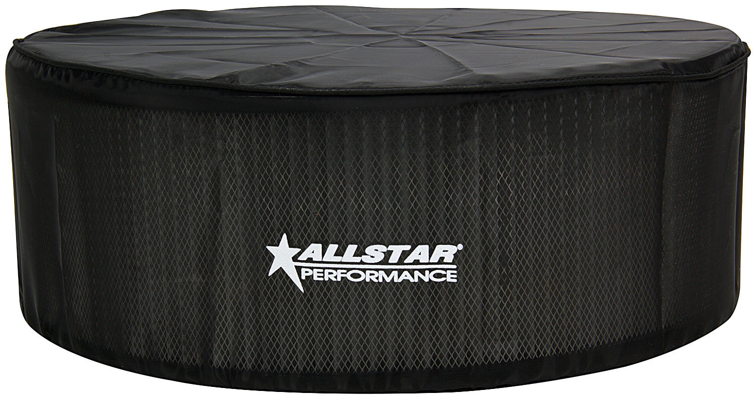 Allstar Performance 26225 Air Filter Wrap, Pre Filter, 14 in OD, 5 in Tall, Top Cover, Polyester, Black, Allstar 14 in Washable Filters, Each