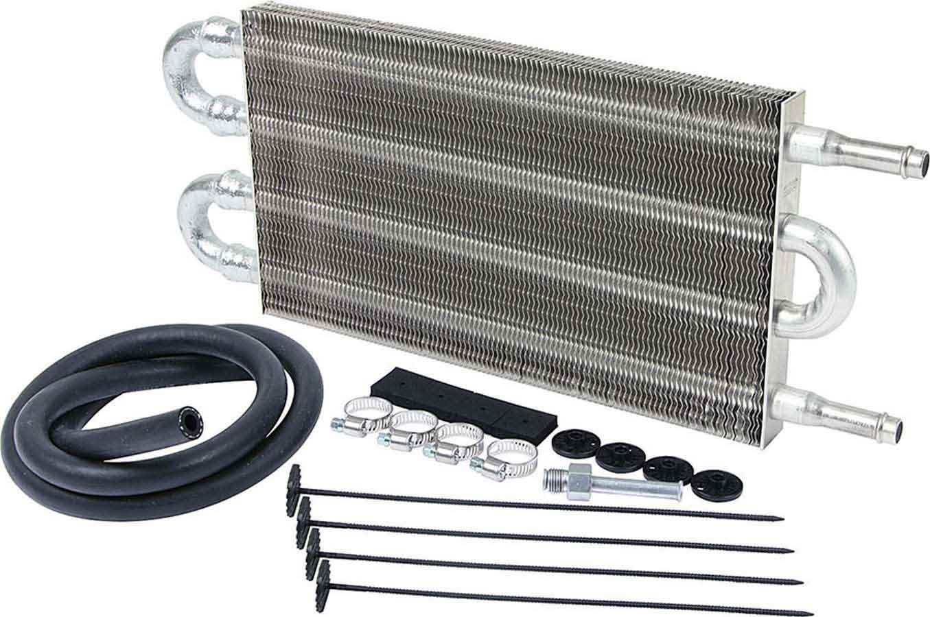 Allstar Performance 26700 Fluid Cooler, 9 x 5 x 3/4 in, Tube Type, 3/8 in Hose Barb Inlet / Outlet, Fitting / Hardware / Hose, Aluminum, Automatic Transmission, Kit