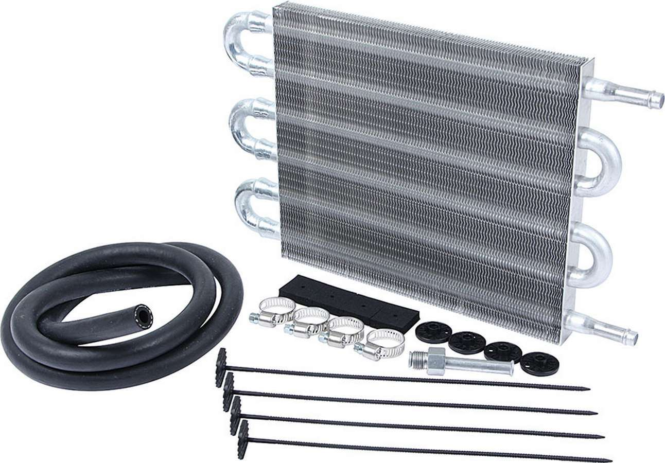 Allstar Performance 26704 Fluid Cooler, 12 x 7-1/2 x 3/4 in, Tube Type, 3/8 in Hose Barb Inlet / Outlet, Fitting Included, Hardware / Hose, Aluminum, Automatic Transmission, Kit