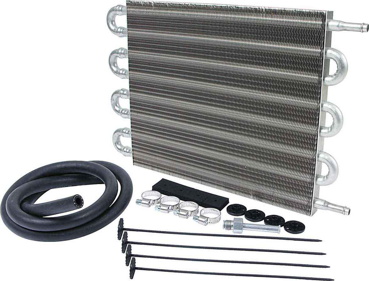 Allstar Performance 26708 Fluid Cooler, 16 x 10 x 3/4 in, Tube Type, 3/8 in Hose Barb Inlet / Outlet, Fitting / Hardware / Hose, Aluminum, Automatic Transmission, Kit