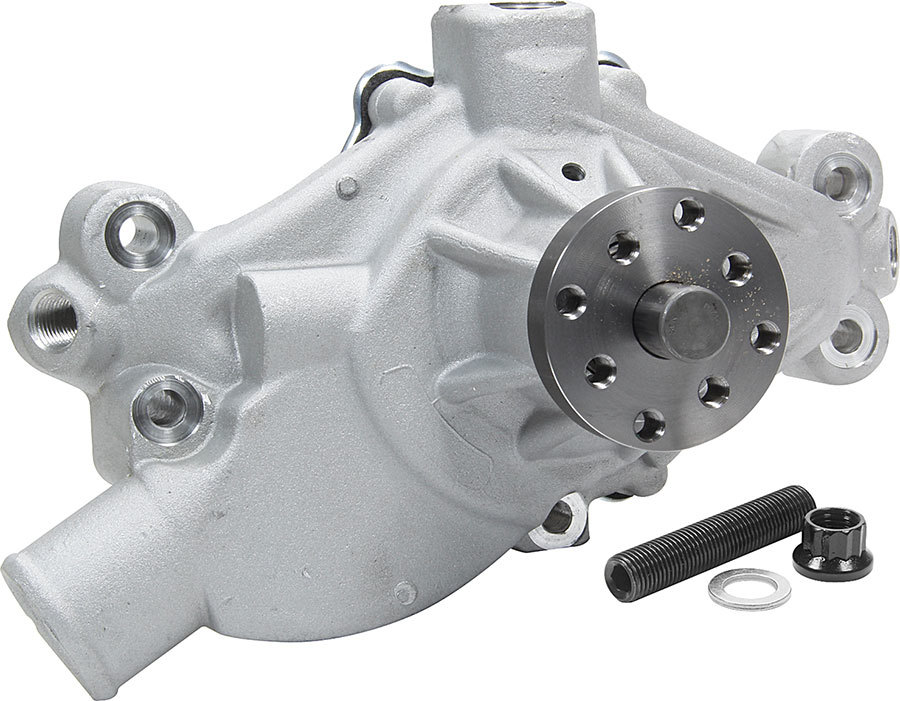 Allstar Performance 31106 Water Pump, Mechanical, 3/4 in Pilot, Short Design, 3/8 in NPT Bypass Ports / Cam Stop Hardware Included, Aluminum, Natural, Small Block Chevy, Each