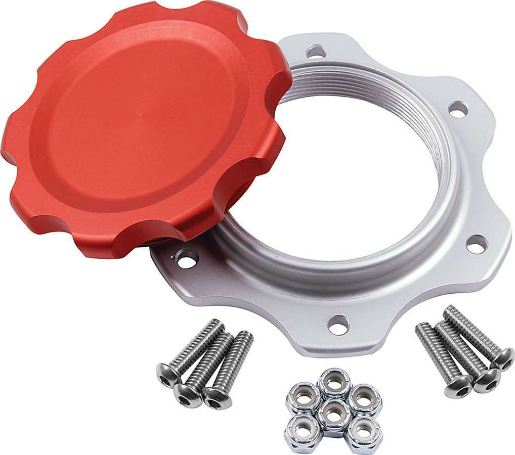 Allstar Performance Fuel Cell Cap and Bung JAZ 6-Bolt Red