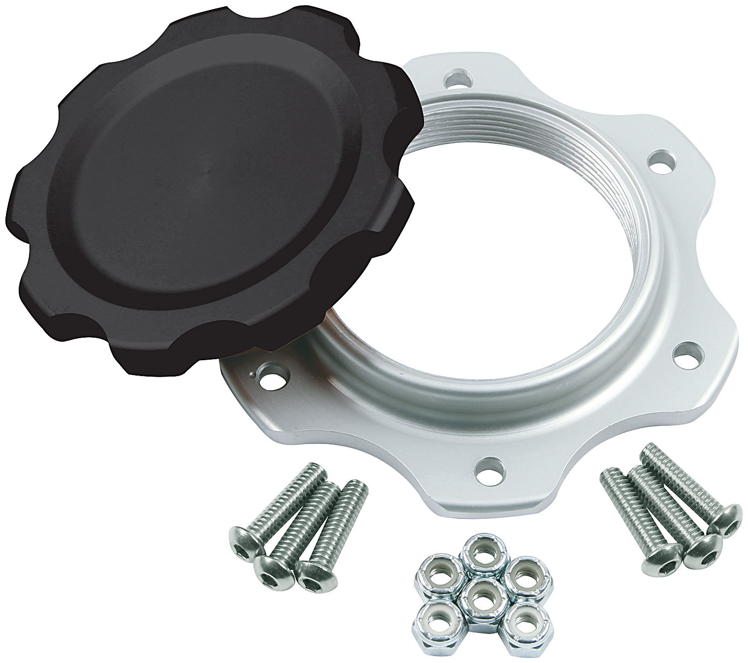 Allstar Performance 40137 Fuel Cell Filler Cap, Screw-On, Aluminum, Black Anodize, 6-Bolt JAZ Fuel Cells, Each