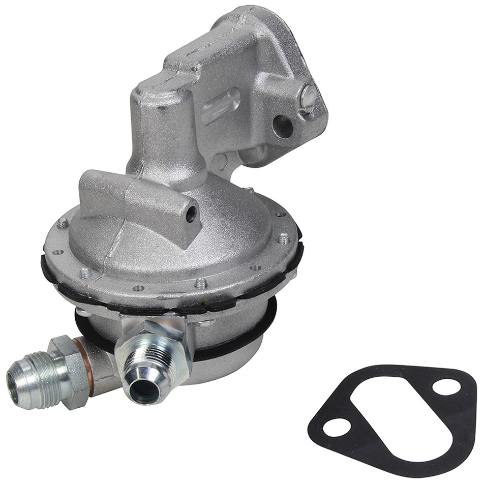 Allstar 40267 Fuel Pump, Mechanical, 172 gph, 7.0-8.5 psi, 8 AN Male Inlet, 10 AN Male Outlet, Aluminum, Natural, Small Block Chevy, Each
