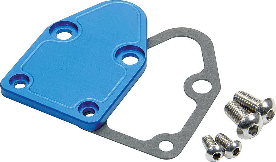 Allstar Performance 40300 Fuel Pump Blockoff, Aluminum, Blue Anodized, Small Block Chevy, Each