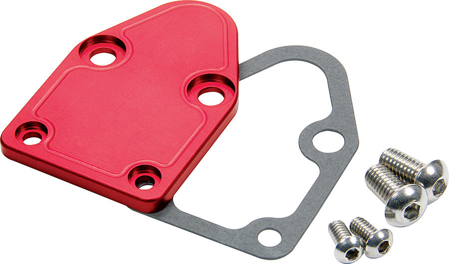 Allstar Performance 40302 Fuel Pump Blockoff, Aluminum, Red Anodized, Small Block Chevy, Each