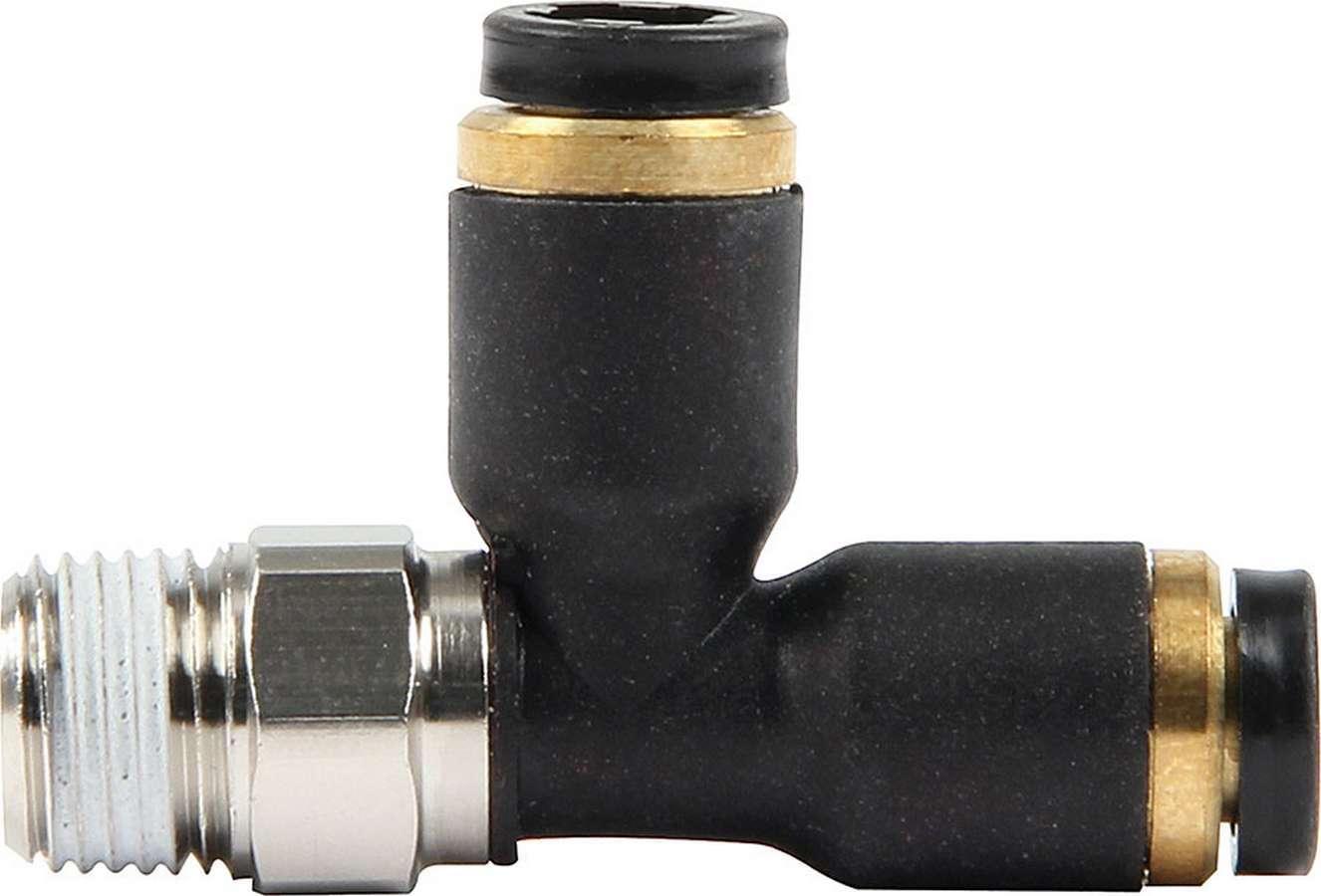 Allstar Performance 48023 Fitting, Adapter Tee, 3/16 in Female Pushlock x 3/16 in Female Pushlock x 1/8 in NPT Male, Plastic / Steel, Black, Nylon Hose, Each