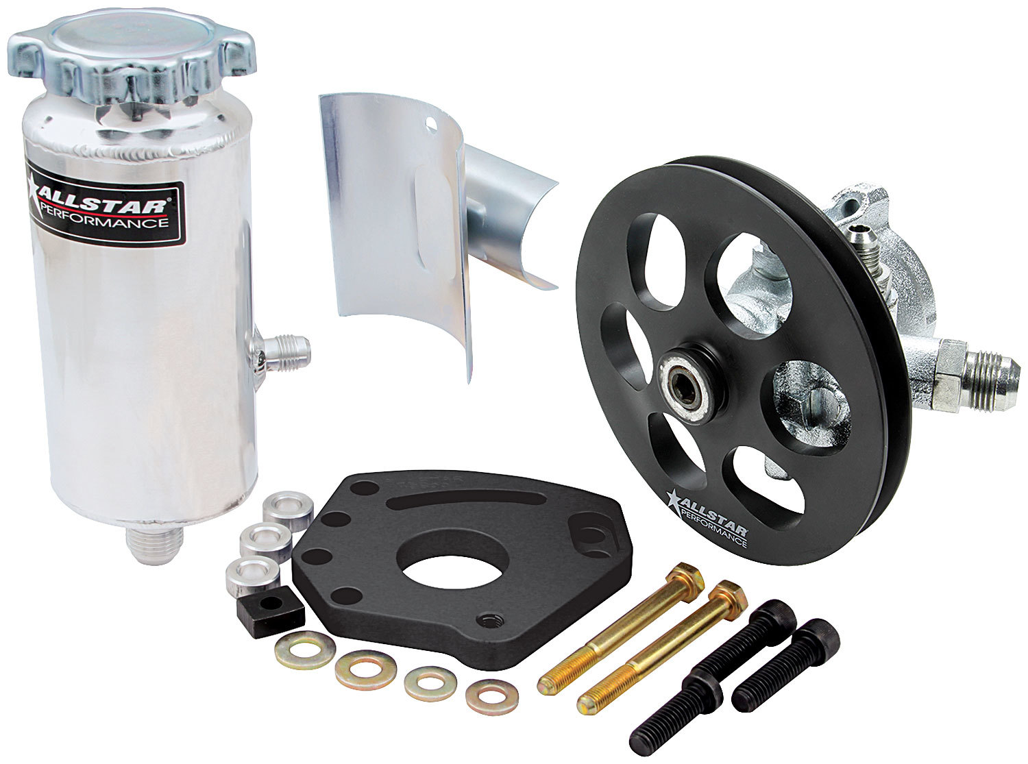 Allstar Performance 48240 Power Steering Pump, GM Type 2, 3 gpm, 1300 psi, Head Mount / Tank / V-Belt Pulley Included, Small Block Chevy, Kit