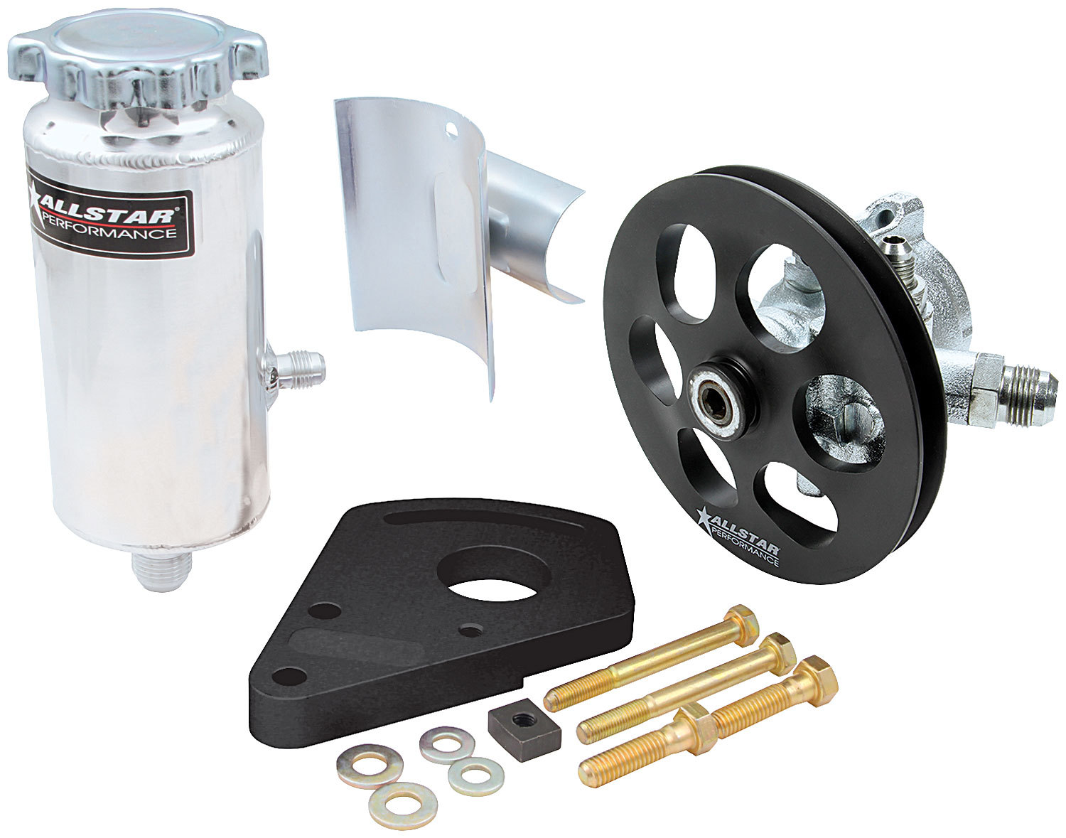 Allstar Performance 48242 Power Steering Pump, GM Type 2, 3 gpm, 1300 psi, Block Mount / Tank / V-Belt Pulley Included, Small Block Chevy, Kit