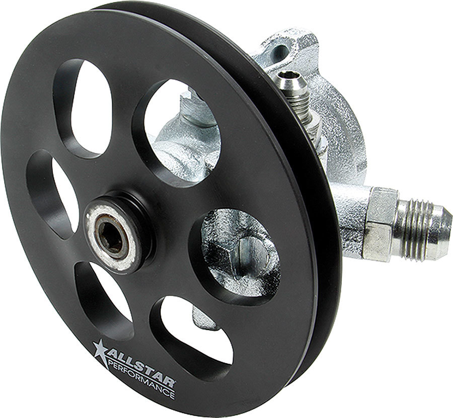 Allstar Performance 48250 Power Steering Pump, GM Type 2, 3 gpm, 1300 psi, V-Belt Pulley, Steel, Black, Each
