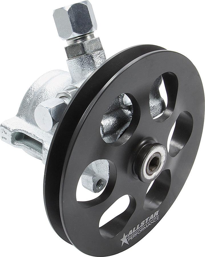 Allstar Performance 48252 Power Steering Pump, GM Type 2, 3 gpm, 1300 psi, V-Belt Pulley, Steel, Black, Each