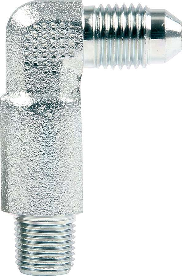 Allstar Performance 50021 Fitting, Adapter, Tall, 90 Degree, 4 AN Male to 1/8 in NPT Male, Steel, Zinc Oxide, Each