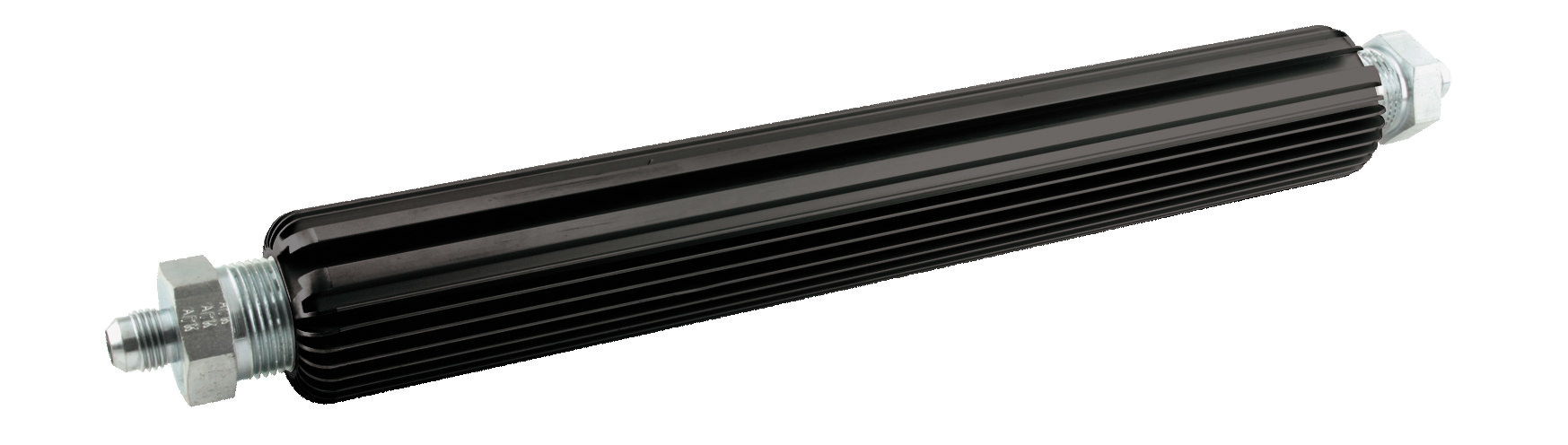 Allstar Performance 52102 Fluid Cooler, 12 x 1-3/4 in, Heat Sink, 3/4 in NPT Female Inlet / Outlet, 6 AN Male Adapter, Aluminum, Black Anodized, Universal, Each