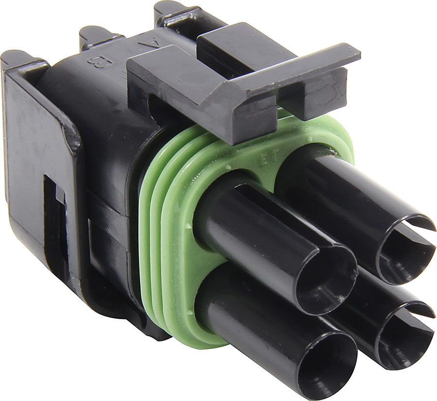 Allstar Performance 76296 Weather Pack Housing, Square, Female, Seals Included, 4 Pin, 12V, 20 amp, Plastic, Black, Each