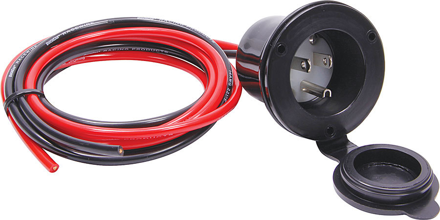 Allstar Performance 76436 Accessory Plug-In, 110V, Flange Mount, Covered Housing / Wiring Harness, 3-Prong Male Socket, Each