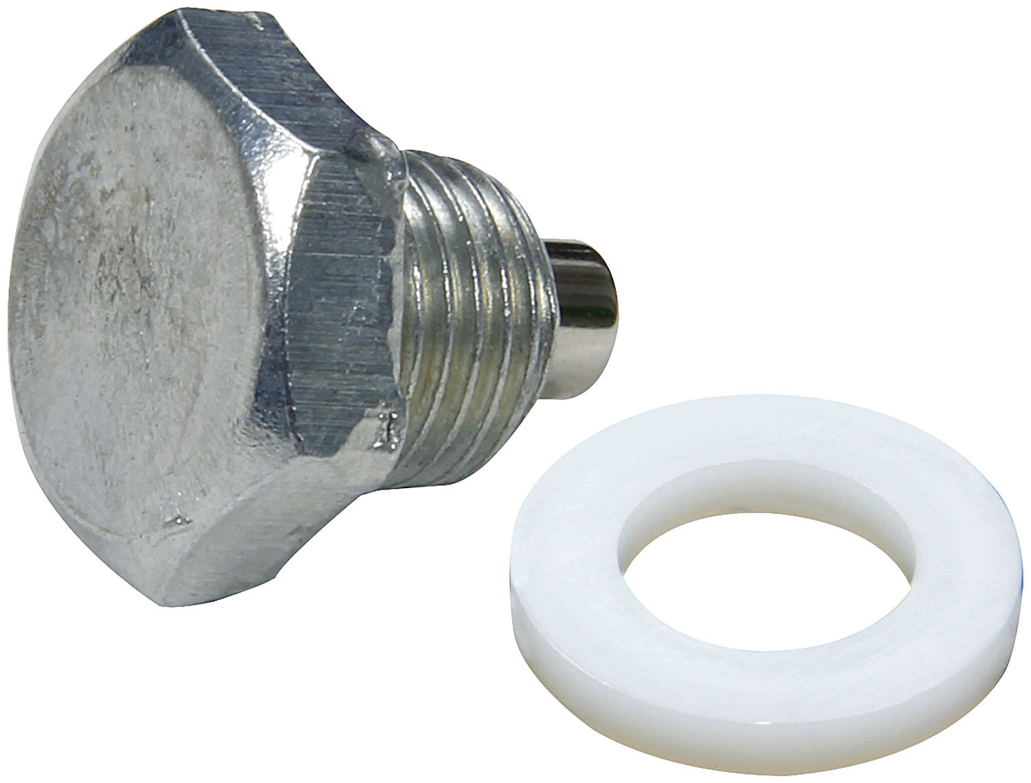 Allstar Performance 87040 Drain Plug, 1/2-20 in Thread, 3/4 in Hex Head, Nylon Washer, Magnetic, Steel, Zinc Oxide, Each