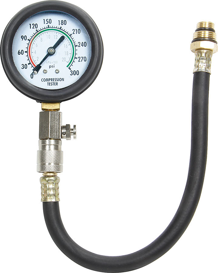 Allstar Performance 96520 Compression Gauge, 0-300 psi, Mechanical, Analog, 2-1/2 in Diameter, White Face, Black Pointer, Requires Adapter, Each