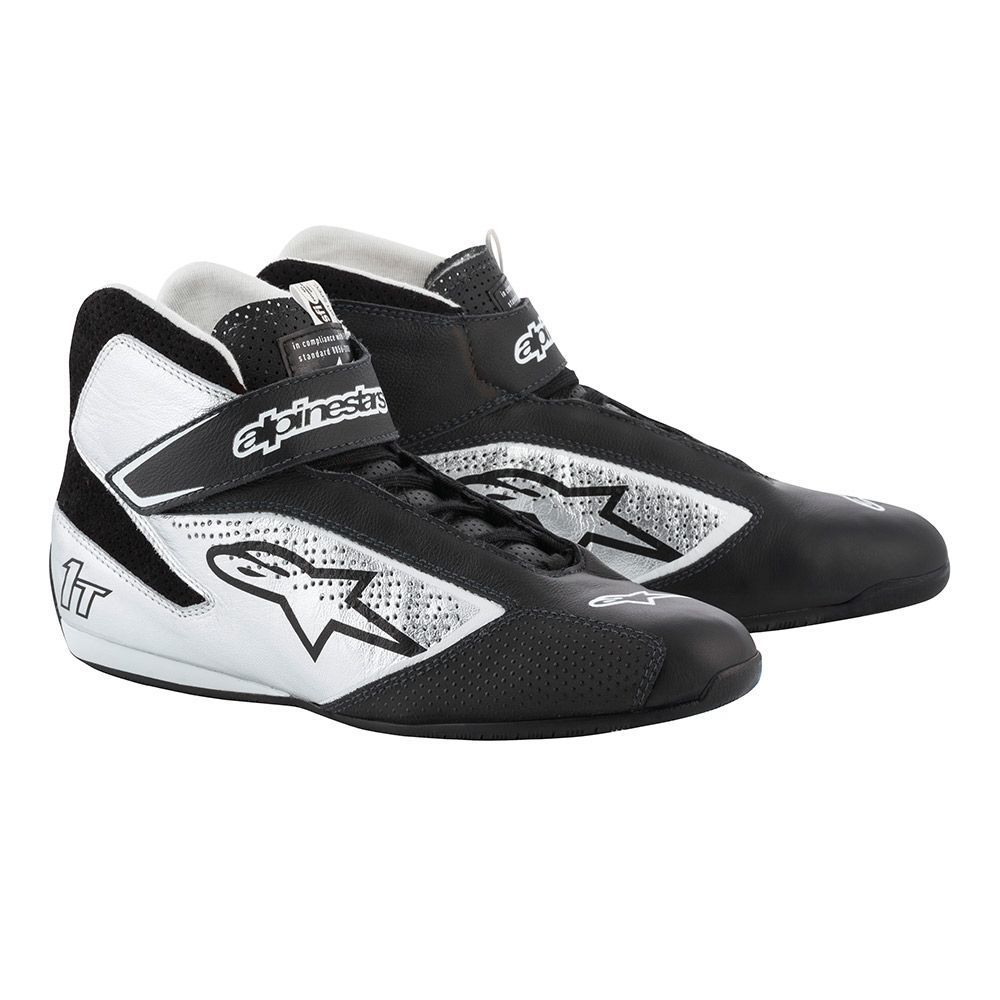 Alpinestars USA 2710119-119-8 Shoe, Tech 1-T, Driving, Mid-Top, SFI 3.3, FIA Approved, Leather Outer, Nomex Inner, Black / Silver, Size 8, Pair
