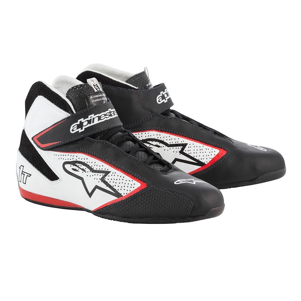 Alpinestars USA 2710119-123-8.5 Shoe, Tech 1-T, Driving, Mid-Top, SFI 3.3, FIA Approved, Leather Outer, Nomex Inner, Black / White, Size 8-1/2, Pair