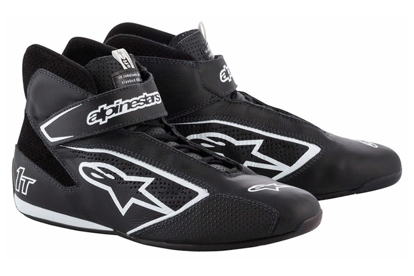 Alpinestars USA 2710119-12B-9.5 Shoe, Tech 1-T, Driving, Mid-Top, SFI 3.3, FIA Approved, Leather Outer, Nomex Inner, Black, Size 9.5, Pair