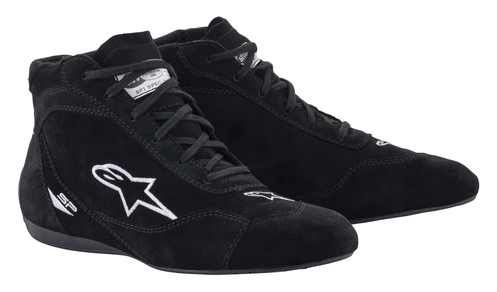 Alpinestars USA 2710621-10-7 Shoe, SP V2, Driving, Mid-Top, SFI3.3/5, Suede Outer, Nomex Inner, Black, Size 7, Pair