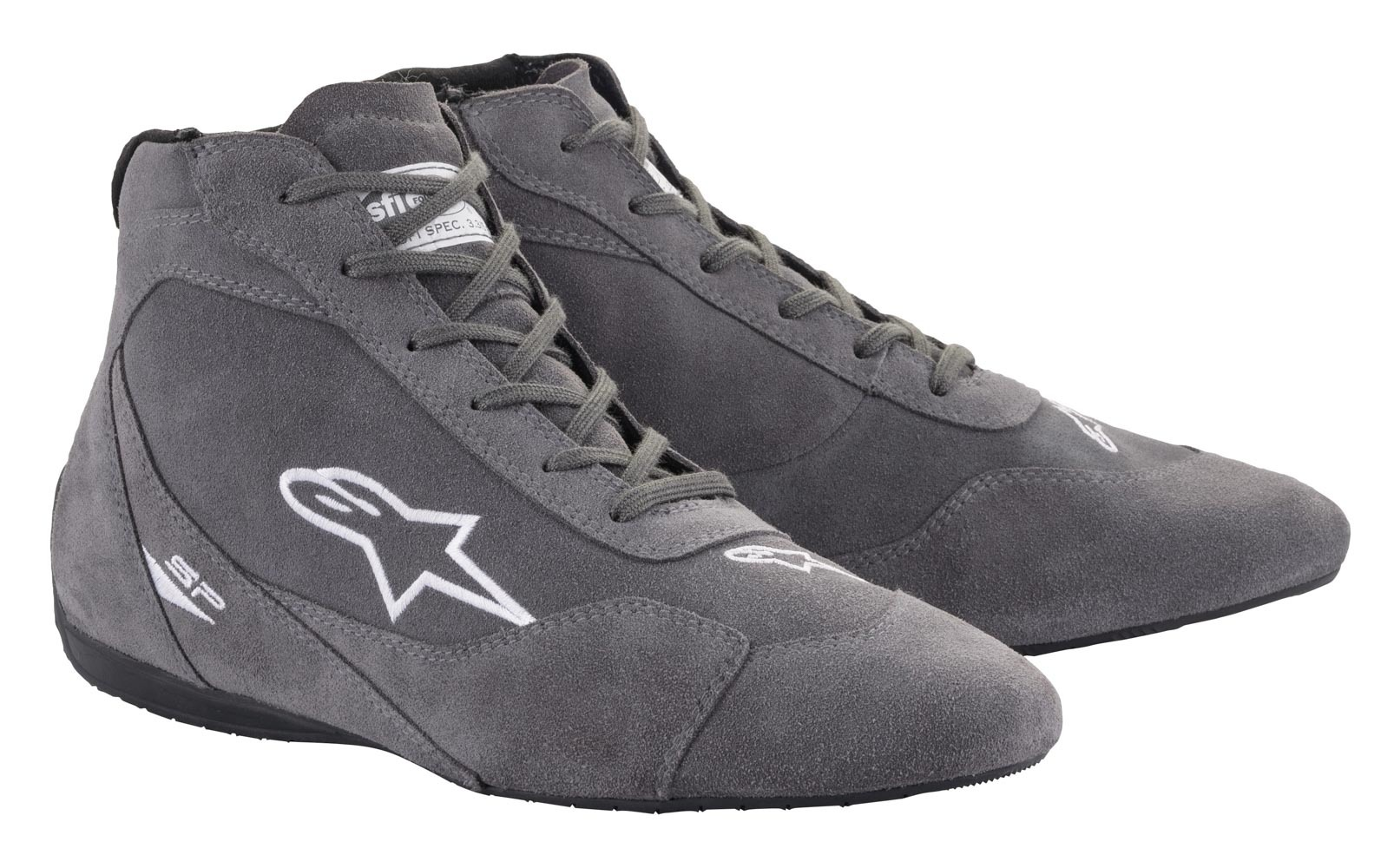 Alpinestars 2710621-11-10 Shoe, SP V2, Driving, Mid-Top, SFI3.3/5, Suede Outer, Nomex Inner, Dark Gray, Size 10, Pair
