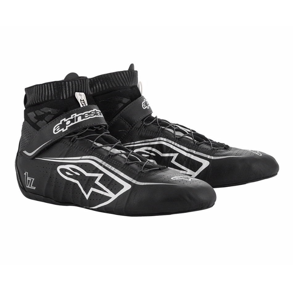 Alpinestars USA 2715120-1219-12 Shoe, Tech-1 Z v2, Driving, Mid-Top, SFI 3.3, Leather Outer, Fire Retardant Inner, Black / White, Size 12, Pair