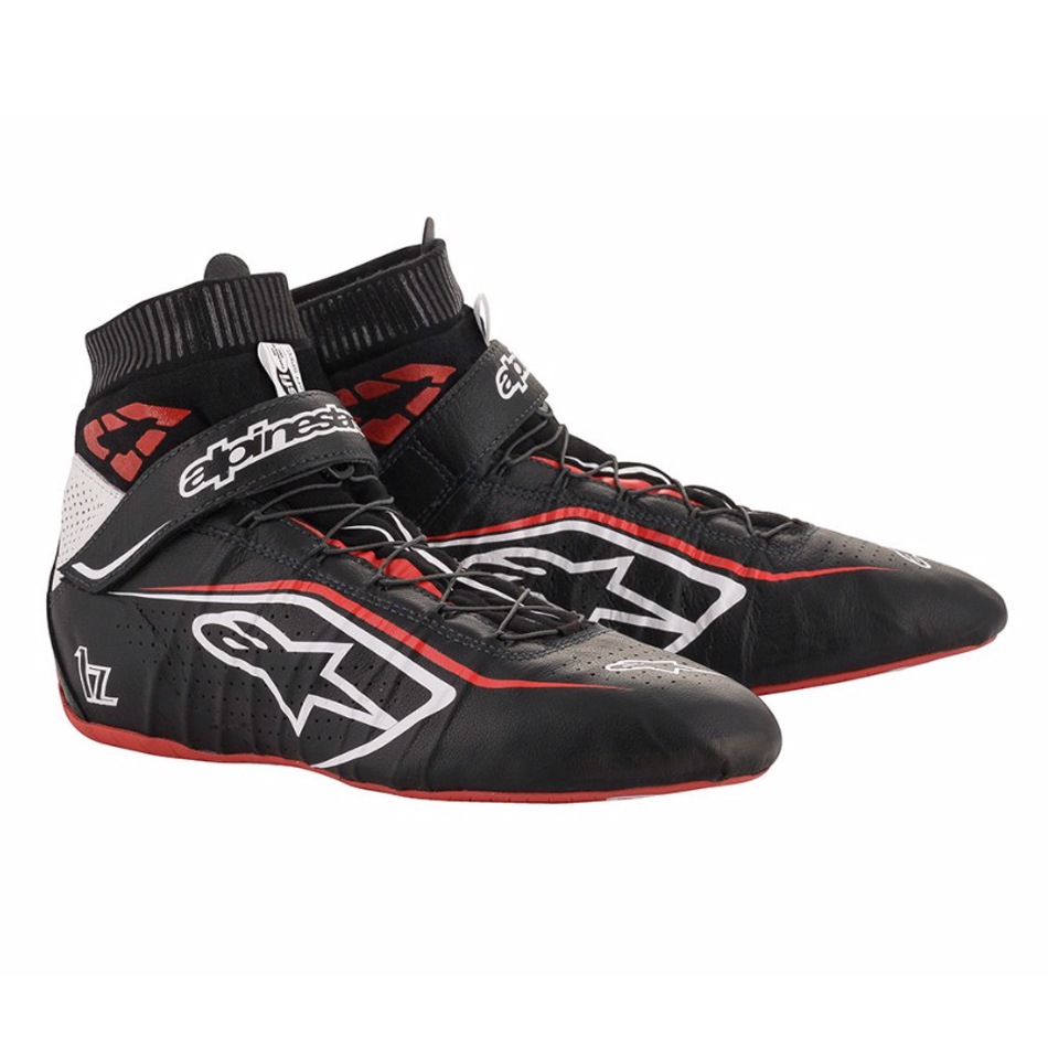 Alpinestars USA 2715120-123-8 Shoe, Tech-1 Z v2, Driving, Mid-Top, SFI 3.3, Leather Outer, Fire Retardant Inner, Black / Red, Size 8, Pair