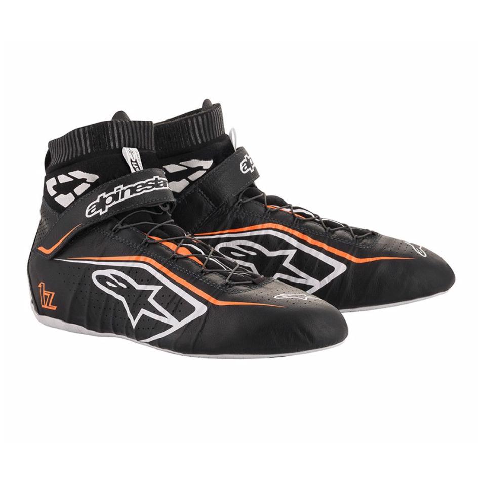 Alpinestars USA 2715120-1241-8 Shoe, Tech-1 Z v2, Driving, Mid-Top, SFI 3.3, Leather Outer, Fire Retardant Inner, Black / Fluorescent Orange, Size 8, Pair