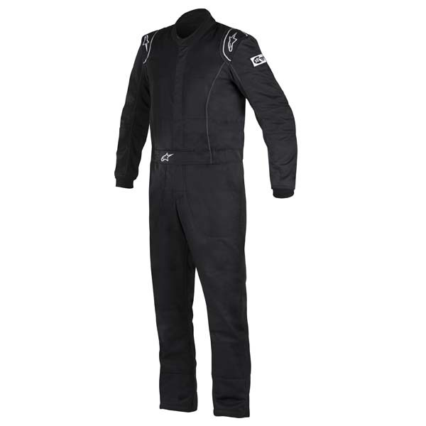 Alpinestars USA 3355916-10-54 Suit, Knoxville, Driving, 1 Piece, SFI 3.2A/5, Boot-Cut, Double Layer, Fire Retardant Fabric, Black, Size 54, Medium / Large, Each