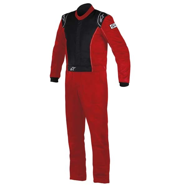 Alpinestars USA 3355916-31-56 Suit, Knoxville, Driving, 1 Piece, SFI 3.2A/5, Boot-Cut, Double Layer, Fire Retardant Fabric, Black / Red, Size 56, Large, Each