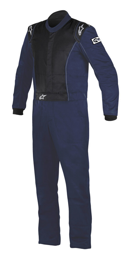 Alpinestars USA 3355916-7100-66 Suit, Knoxville, Driving, 1 Piece, SFI 3.2A/5, Boot-Cut, Double Layer, Fire Retardant Fabric, Black / Blue, Size 66, 2X-Large / 3X-Large, Each