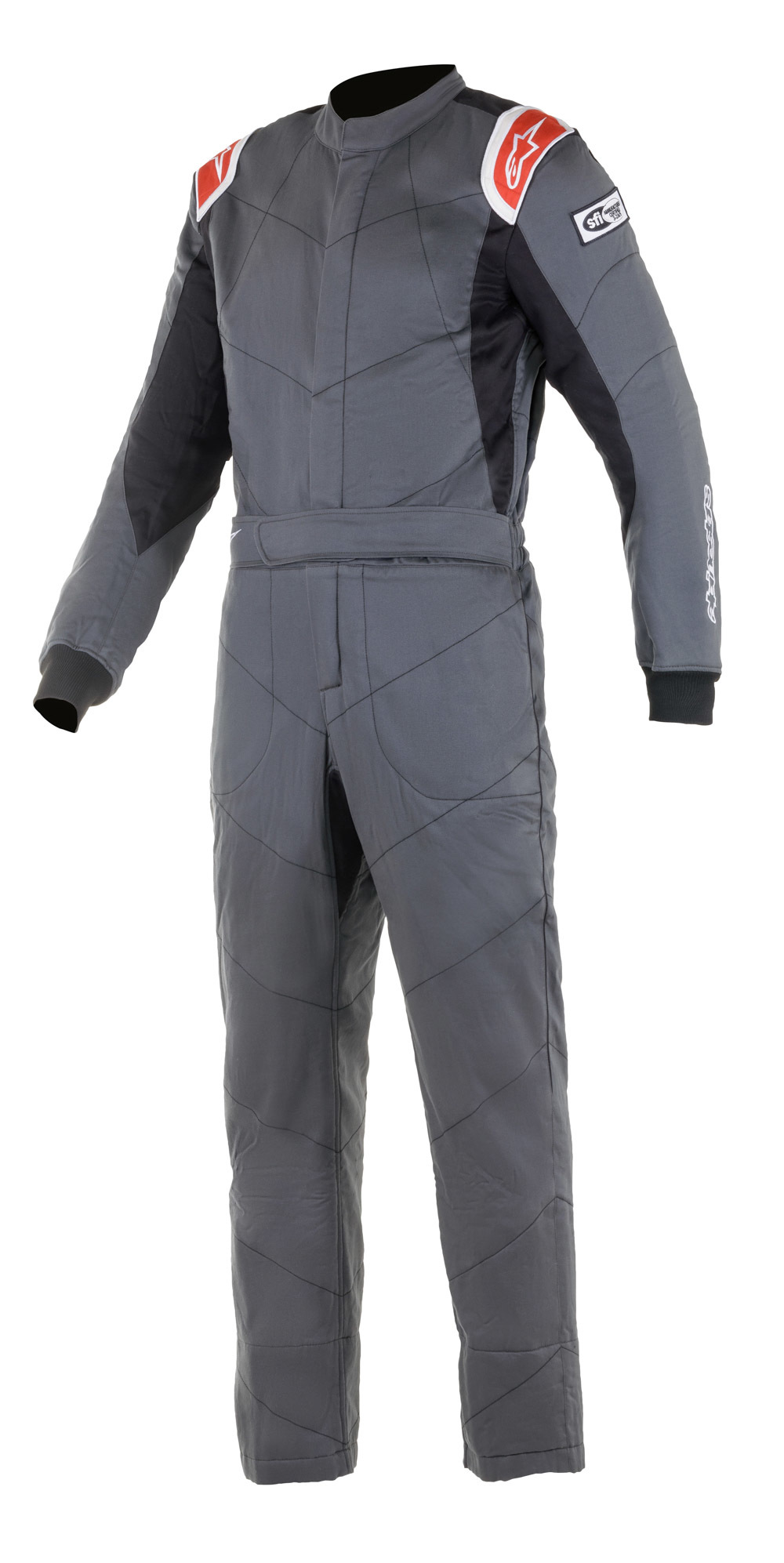 Alpinestars USA 3355921-143-60 Suit, Knoxville V2, Driving, 1 Piece, SFI 3.2A/5, Boot-Cut, Triple Layer, Fire Retardant Fabric, Gray / Red, Size 60, X-Large, Each