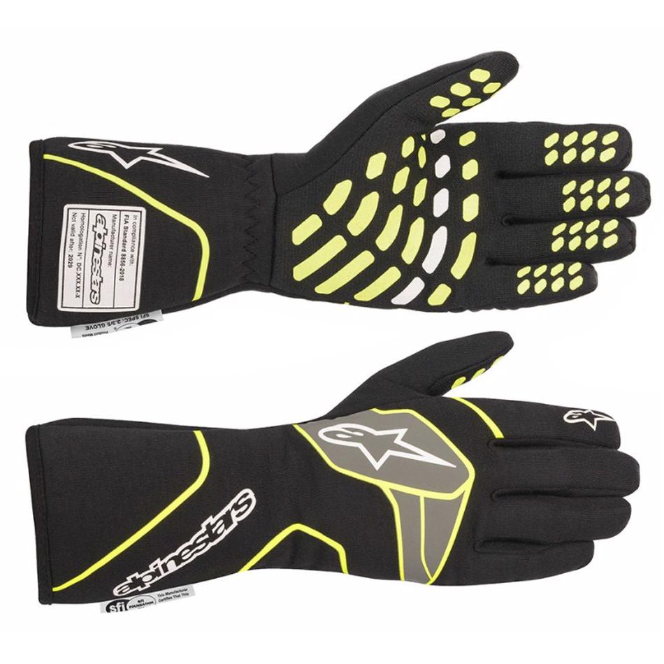 Alpinestars USA 3551120-155-S Gloves, Tech-1 Race v2, Driving, SFI 3.3/5, FIA Approved, Fire Retardant Fabric, Elastic Cuff, Black / Fluorescent Yellow, Small, Pair