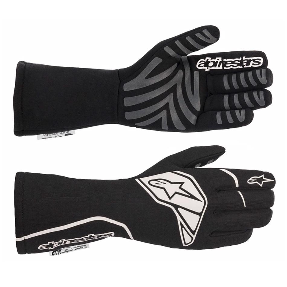 Alpinestars USA 3551620-12B-L Gloves, Tech-1 Start v2, Driving, SFI 3.3/5, FIA Approved, Fire Retardant Fabric, Elastic Cuff, Black / White, Large, Pair