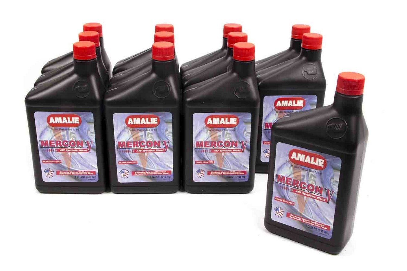 Amalie 160-62856-56 Transmission Fluid, Mercon V, ATF, Semi-Synthetic, 1 qt Bottle, Set of 12