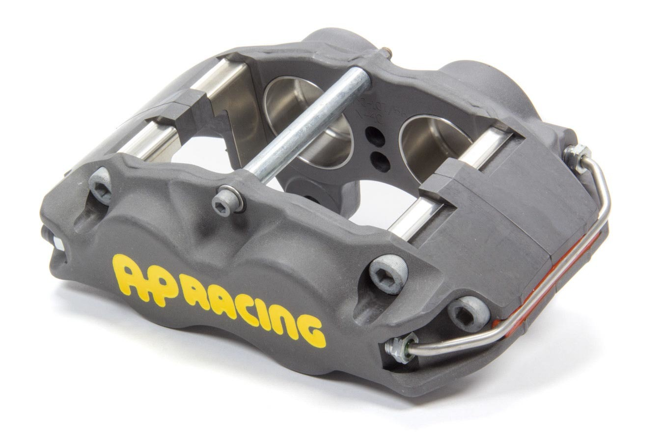 AP Brake 1902801 Brake Caliper, Driver Side, Front, 4 Piston, Aluminum, Clear Anodize, 11.750 to 12.200 in OD x 1.25 in Thick Rotor, 3.500 in Lug Mount, Each