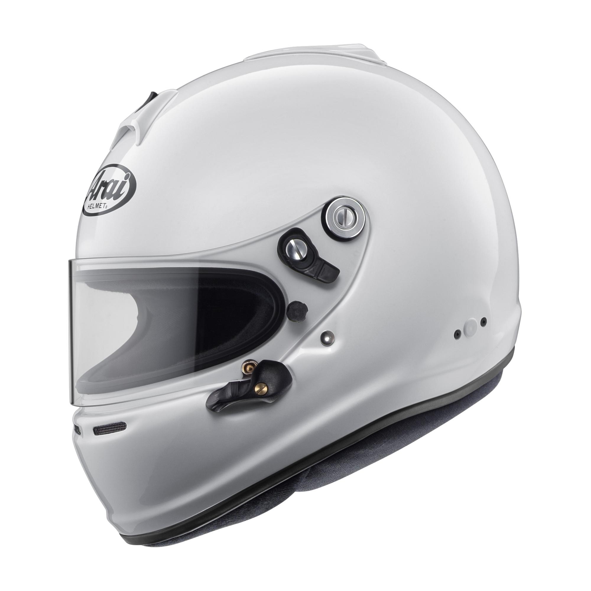 Arai Helmet 685311143457 Helmet, GP-6S, Snell SA2015, FIA Approved, Head and Neck Support Ready, White, Medium, Each