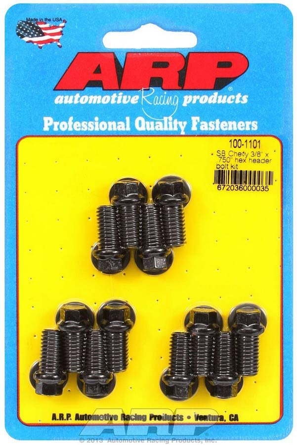 ARP 100-1101 Header Bolt, 3/8-16 in Thread, 0.750 in Long, Hex Head, Chromoly, Black Oxide, Small Block Chevy, Set of 12