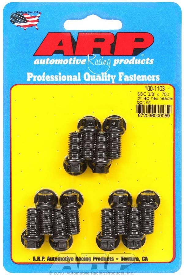 ARP 100-1103 Header Bolt, 3/8-16 in Thread, 0.750 in Long, Hex Head, Chromoly, Black Oxide, Drilled, Small Block Chevy, Set of 12