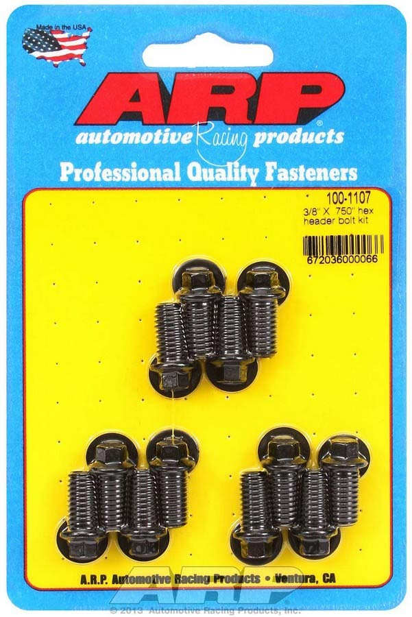 ARP 100-1107 Header Bolt, 3/8-16 in Thread, 0.750 in Long, Hex Head, Chromoly, Black Oxide, Universal, Set of 12
